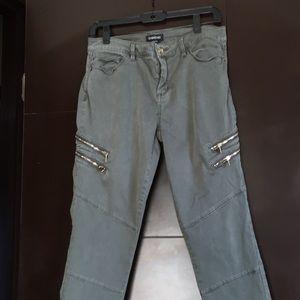 Bebe green Moto style pants.